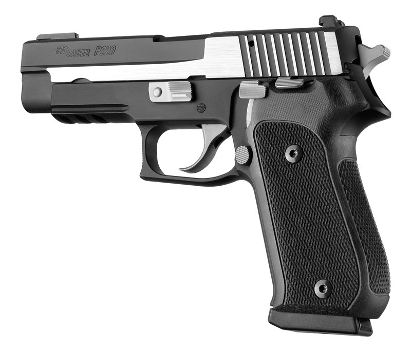 Sig P220 DA/SA black checkered G-10 grips 20179