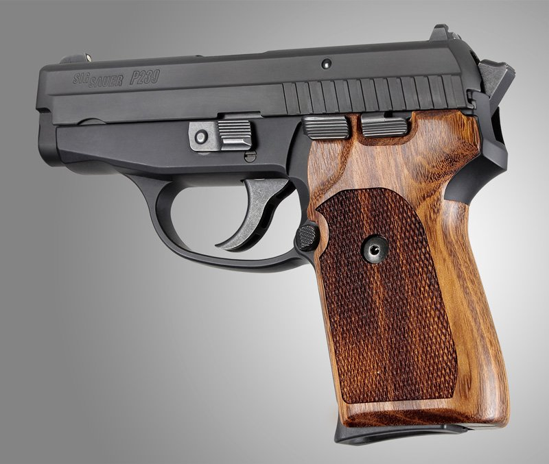 Hogue Sig Sauer P239 Goncalo checkered wood grips 31211