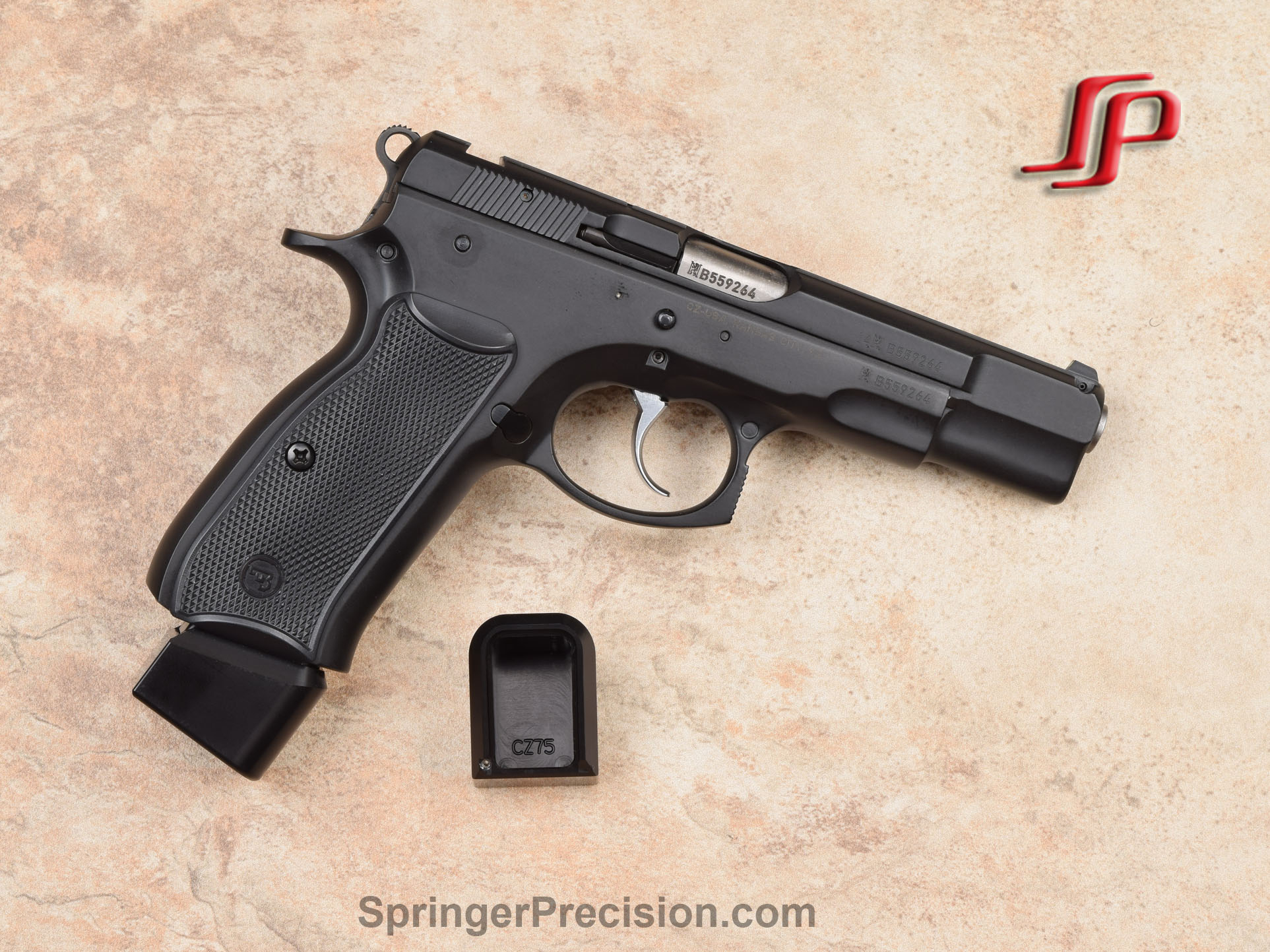 Springer Precision CZ75 EZ 140mm base pads - Mec-Gar 17 RD BLACK